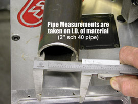 A person measuring a tube's thickness