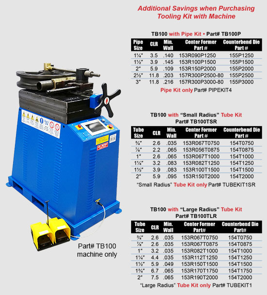 TB100 Top Bender with Specifications